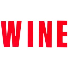 WINE Vintage Cinema Letters, Midcentury, Red, Shop Sign, Reclaimed