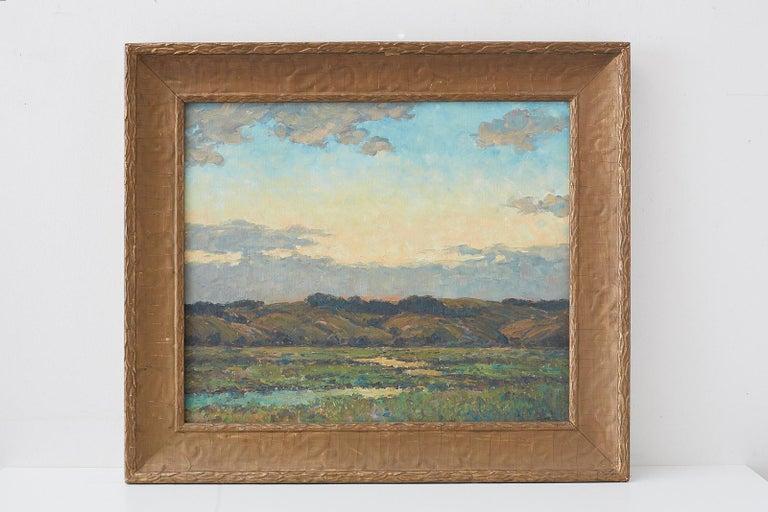 Sunrise Landscape Oil Painting - Gray Landscape Painting by Winfield Scott Clime