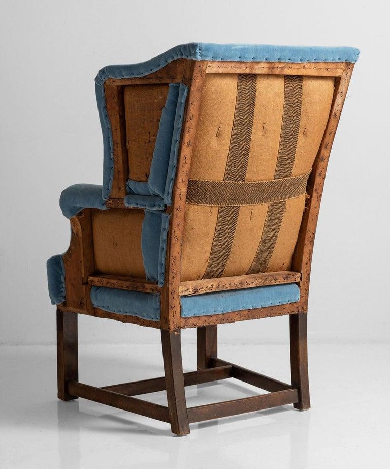 English Wing Armchair in 100% Mohair Velvet For Sale