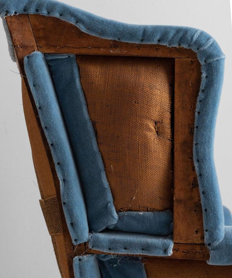 19th Century Wing Armchair in 100% Mohair Velvet For Sale