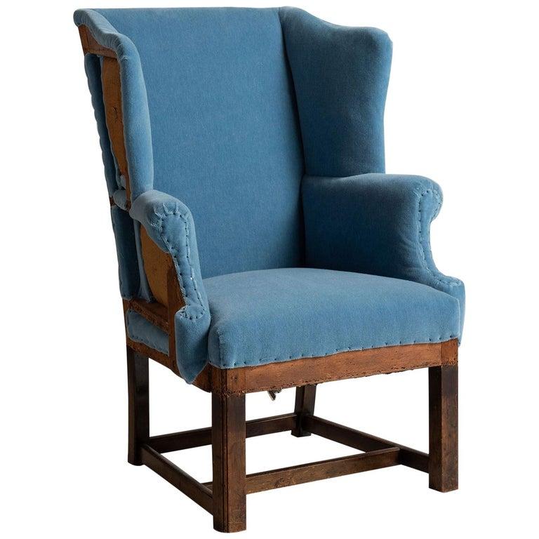 Wing Armchair in 100% Mohair Velvet For Sale