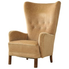 Danish Wing Back Armchair in the style of Mogens Lassen, Denmark, c. 1940's