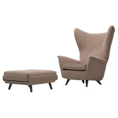 Wing Back Chair with Ottoman