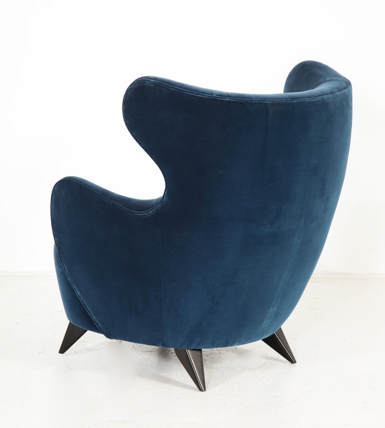 Wing Chair in Blue w/ Maple Wood Base Offered by Vladimir Kagan Design Group For Sale 5
