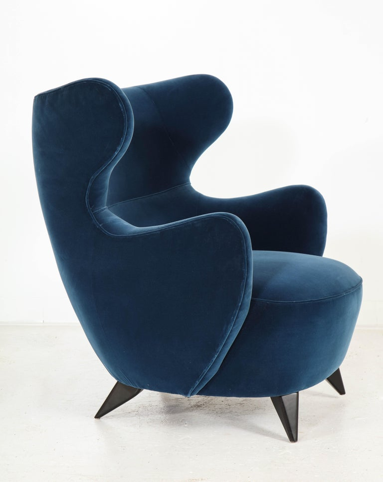 Contemporary Wing Chair in Blue w/ Maple Wood Base Offered by Vladimir Kagan Design Group For Sale