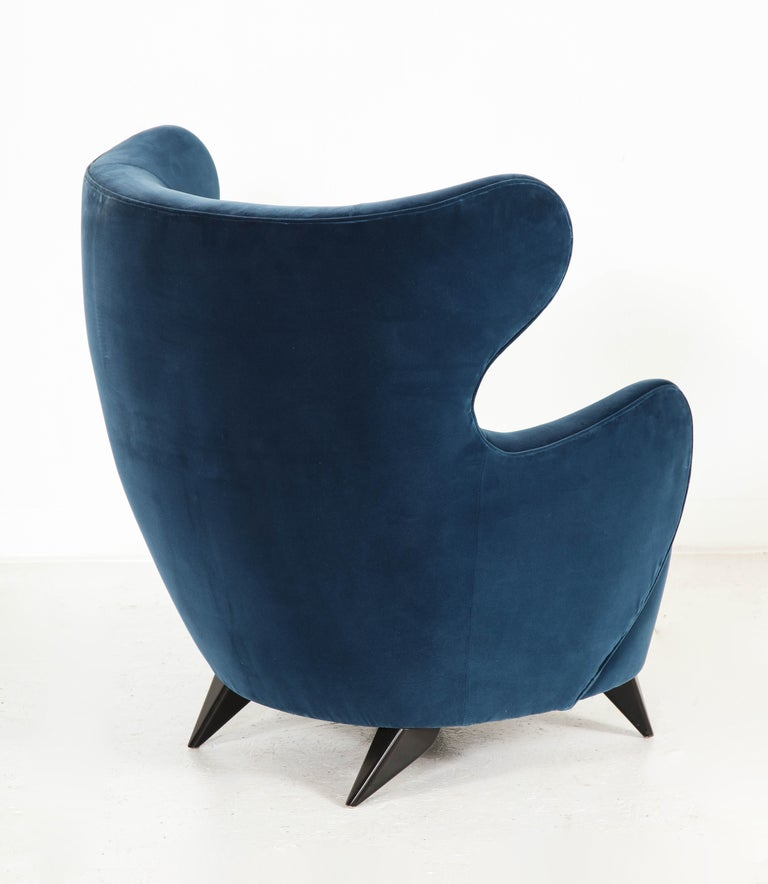 Wing Chair in Blue w/ Maple Wood Base Offered by Vladimir Kagan Design Group For Sale 2