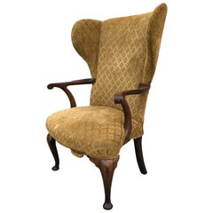 Wing Chair Queen Ann Philadelphia Open Serpentine Open Arm Pad Feet, circa 1740