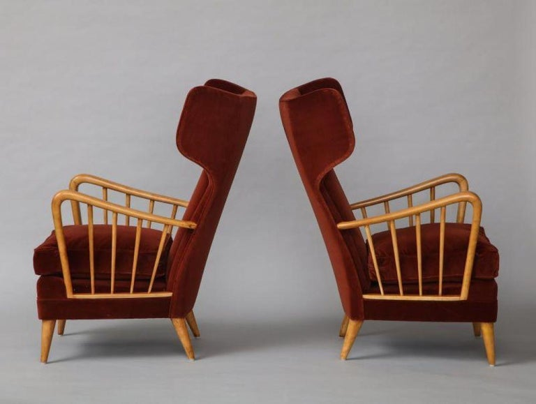 Mid-Century Modern Osvaldo Borsani Red Chairs For Sale