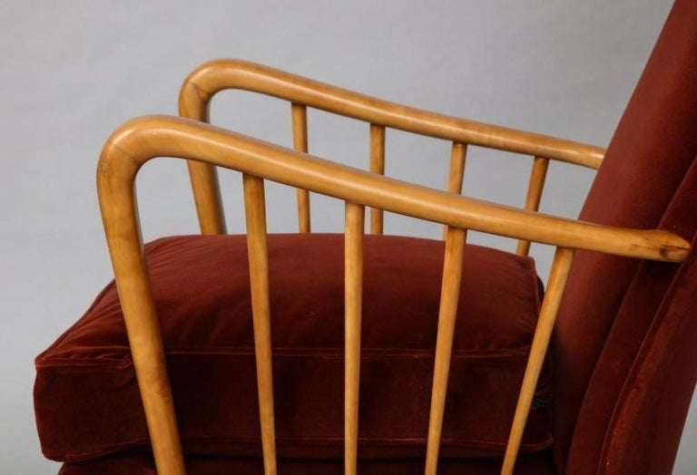 Italian Osvaldo Borsani Red Chairs For Sale