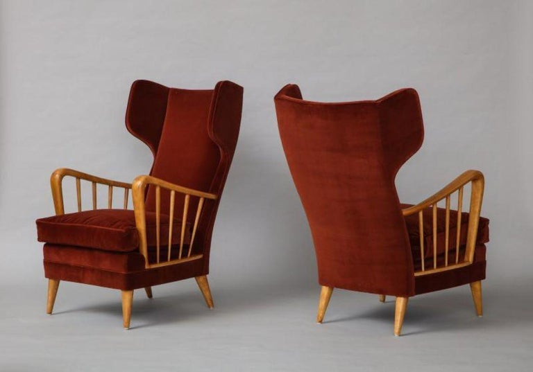 Osvaldo Borsani Red Chairs In Good Condition For Sale In New York, NY