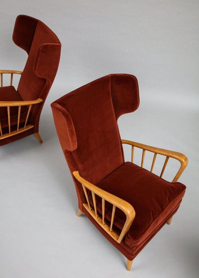 Mid-20th Century Osvaldo Borsani Red Chairs For Sale