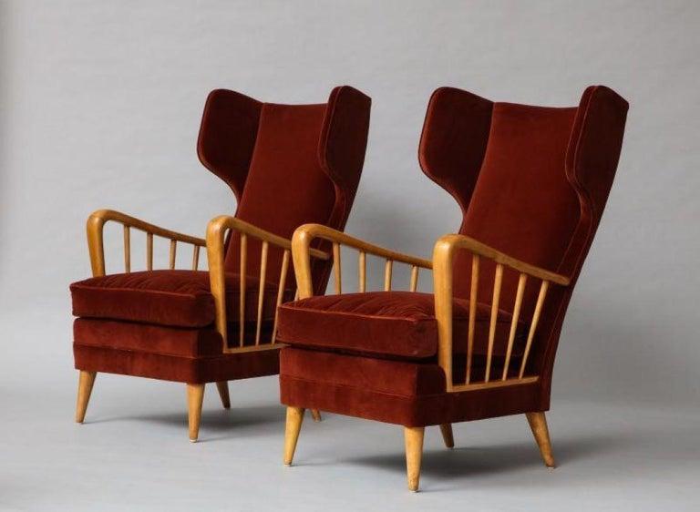 Velvet Osvaldo Borsani Red Chairs For Sale