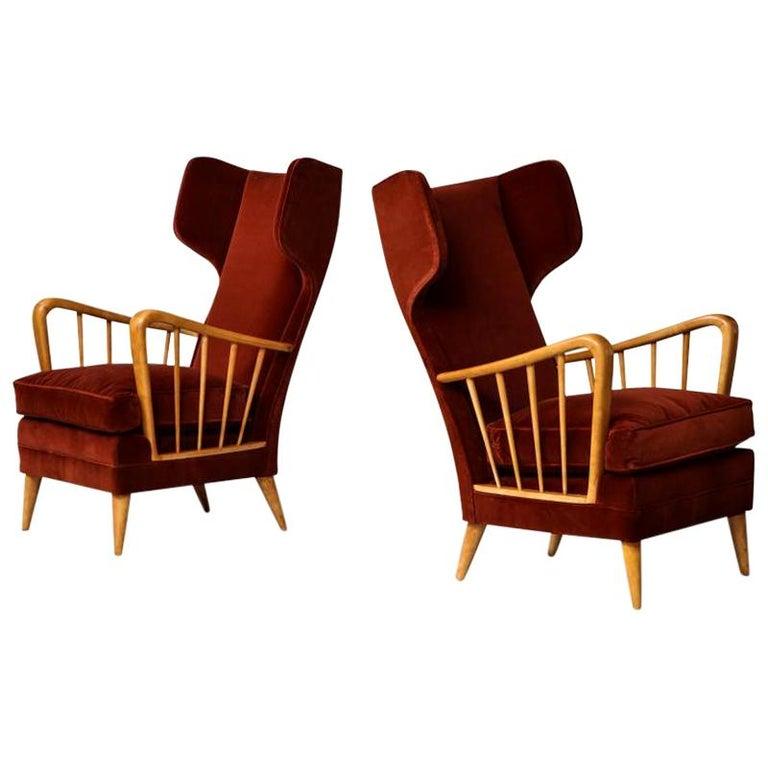 Osvaldo Borsani Red Chairs For Sale