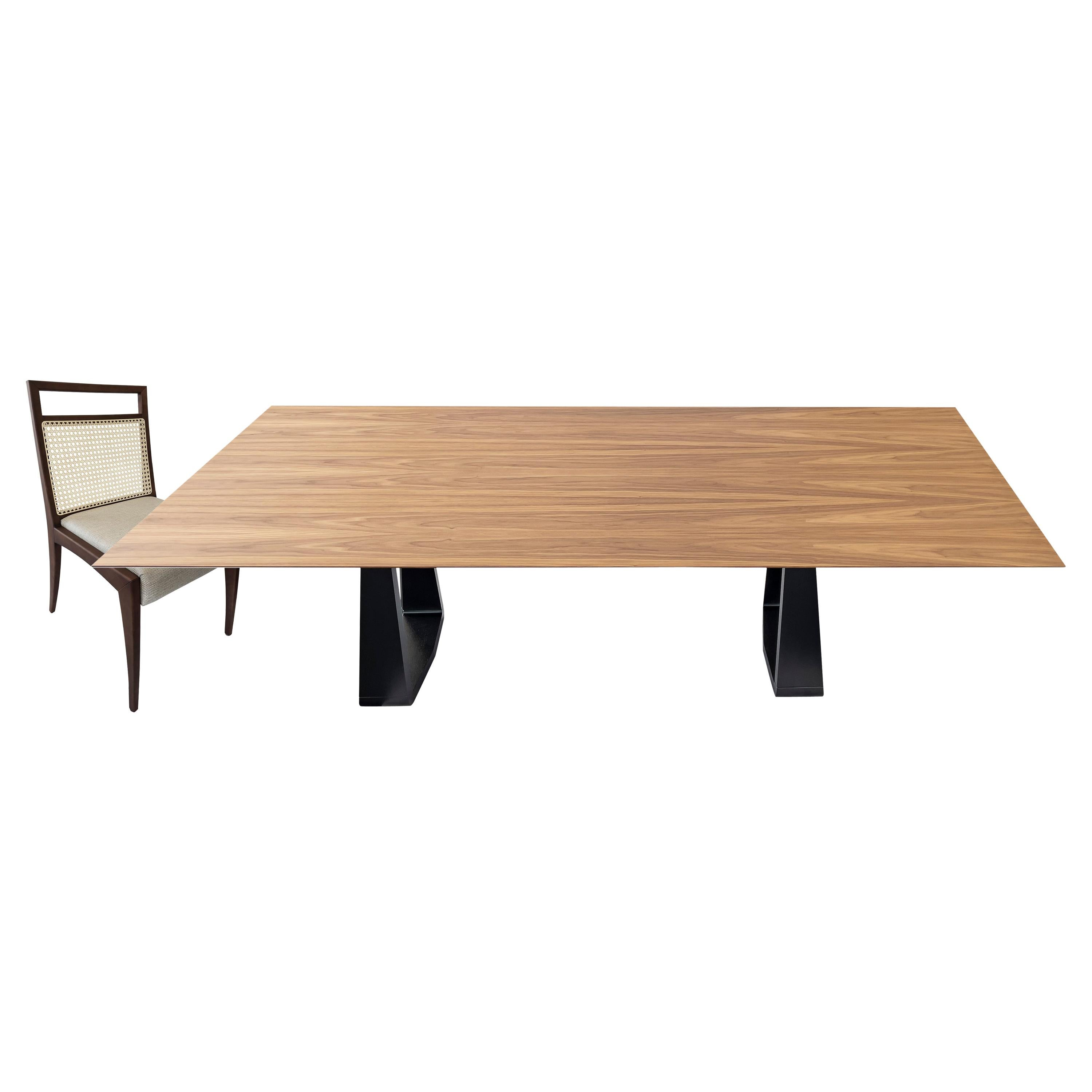 Wing Dining Table and Eight Sotto Chair in Walnut, Set