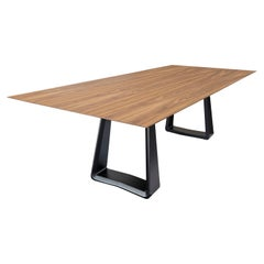 Wing Dining Table with Chamfered Walnut Top and Black Painted Solid Wood Base