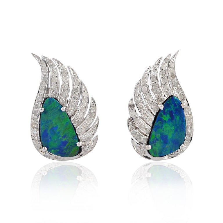 Wing Earrings Opal Diamond Studs In New Condition For Sale In Hoffman Estate, IL
