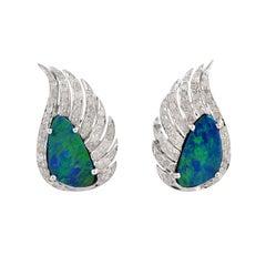 Wing Earrings Opal Diamond Studs