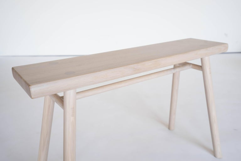Chinese Wing Stand by Sun at Six, Nude: Minimalist Stool / Bench / Side Table in Wood