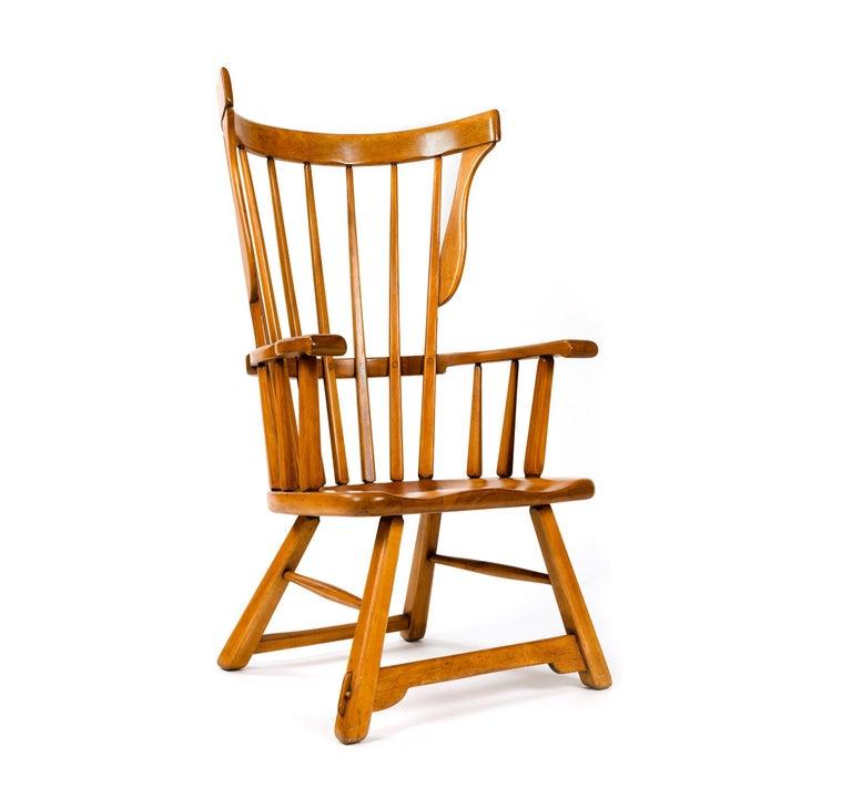 American Craftsman Wingback Armchair by Herman DeVries For Sale