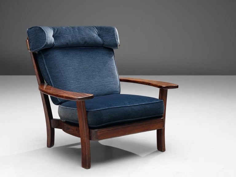 Mid-Century Modern Wingback Armchair in Wood and Velvet Upholstery For Sale