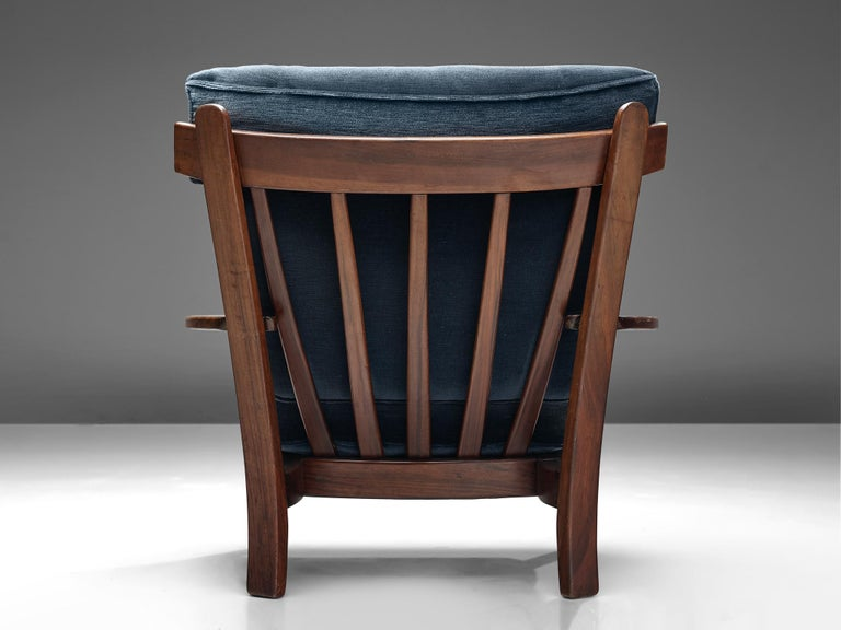 Wingback Armchair in Wood and Velvet Upholstery In Good Condition For Sale In Waalwijk, NL