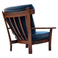 Wingback Armchair in Wood and Velvet Upholstery