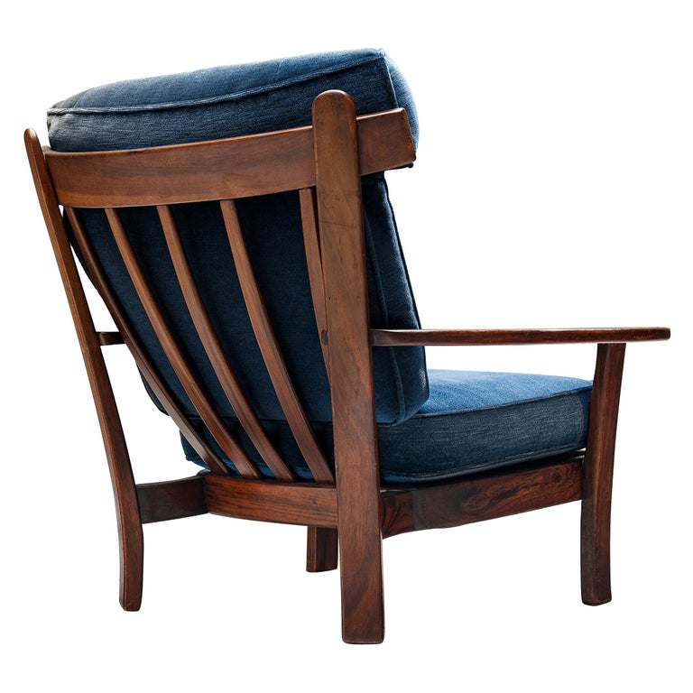 Wingback Armchair in Wood and Velvet Upholstery For Sale