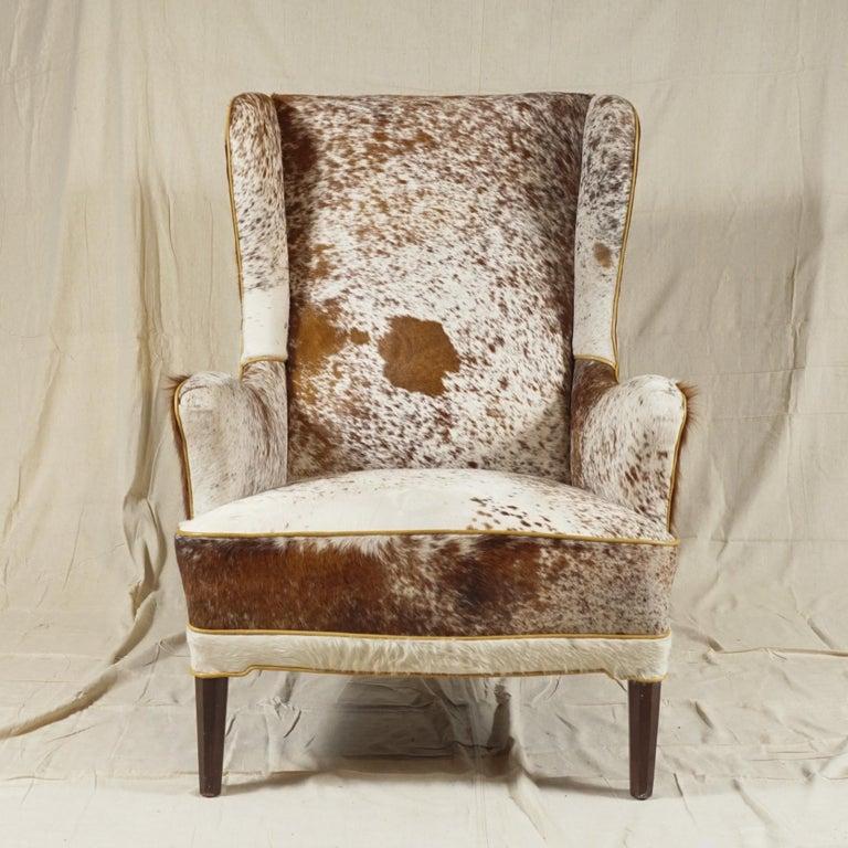 Scandinavian Modern Wingback Chair by Frits Henningsen For Sale