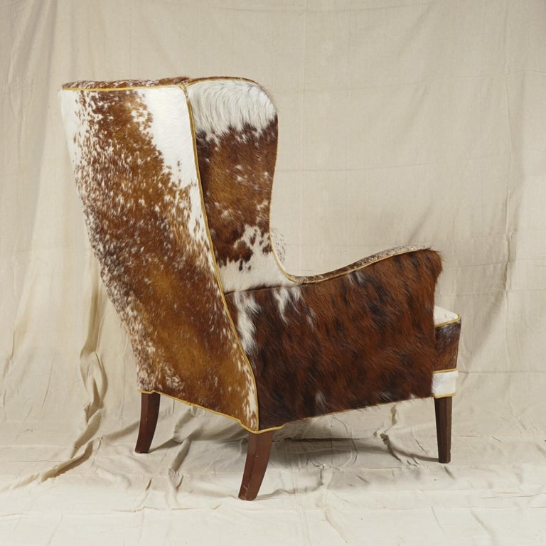 Carved Wingback Chair by Frits Henningsen For Sale