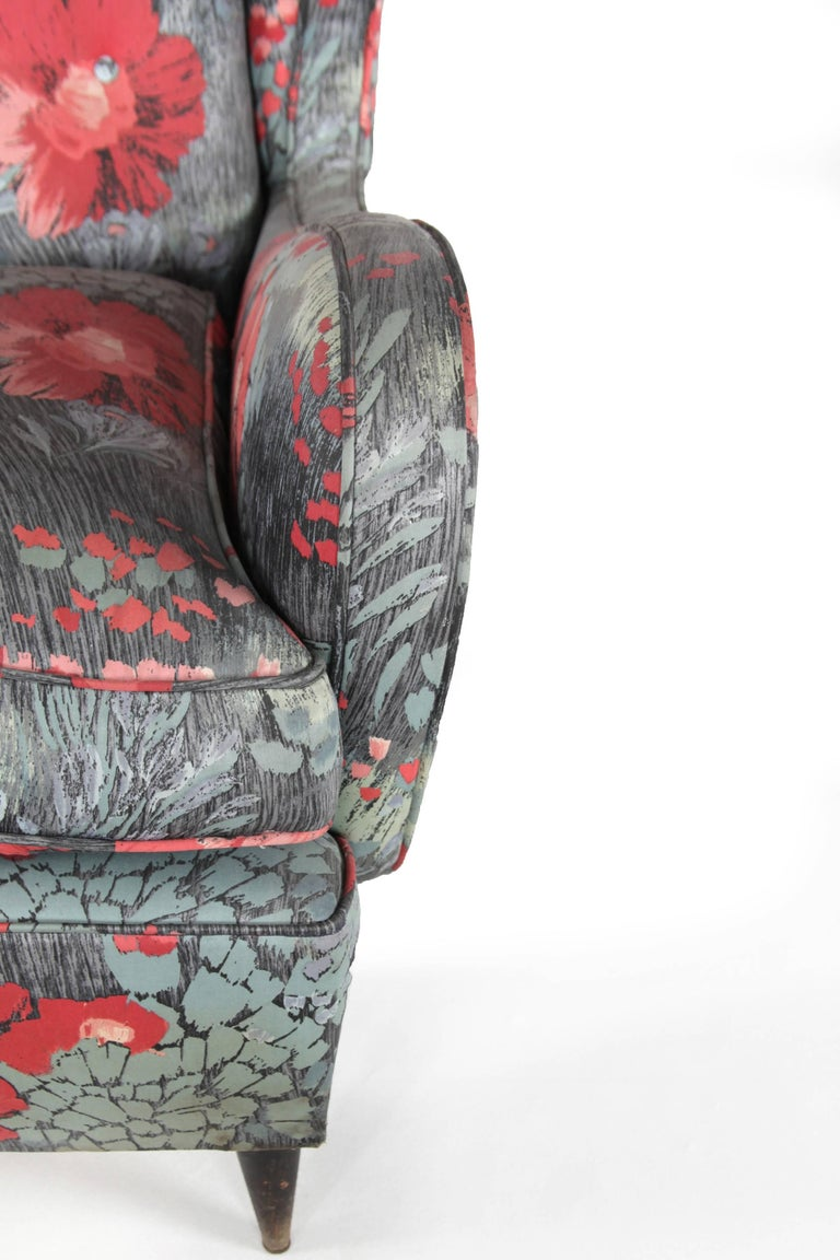 Fabric Wingback Chair, Design by Paolo Buffa, Italy, 1940s For Sale