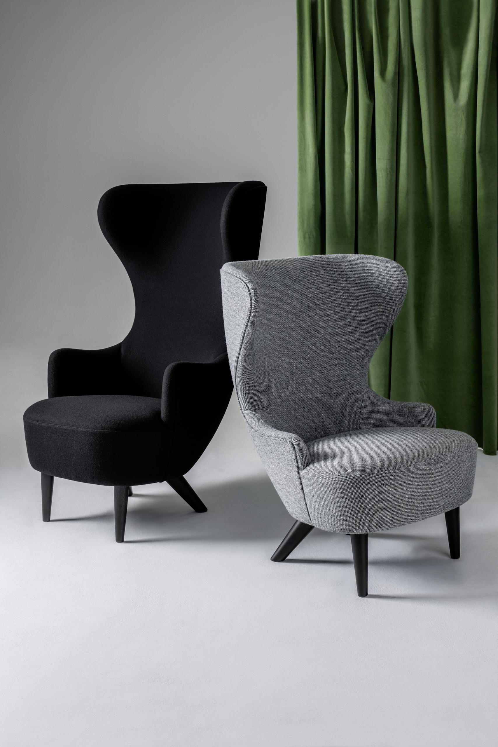 Wingback Chair With Black Legs By Tom Dixon