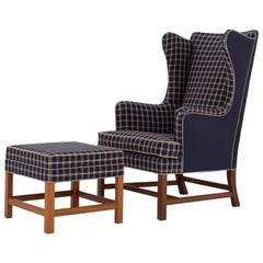 Wingback Chair with Stool by Kaare Klint