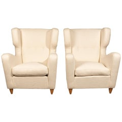 Wingback Chairs by Melchiorre Bega 1940s, Reupholstered in Metaphore Fabric