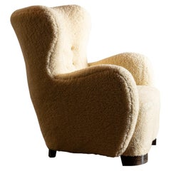 Wingback Danish Cabinetmaker's Easy Chair in Wool, Denmark, 1940s