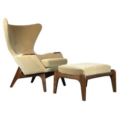 Wingback Lounge Chair and Ottoman by Adrian Pearsall for Craft Associates