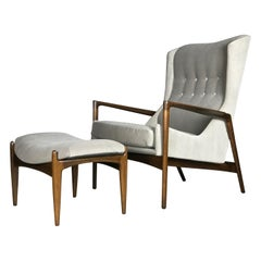 Wingback Lounge Chair and Ottoman by Ib Kofod-Larsen