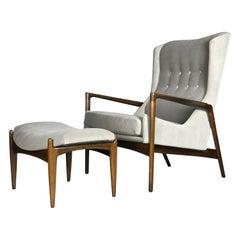 Wingback Lounge Chair and Ottoman by Ib Kofod-Larsen