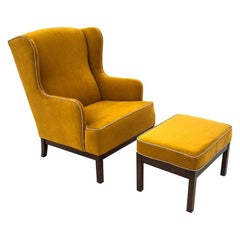 Wingback Yellow Armchair with Footstool