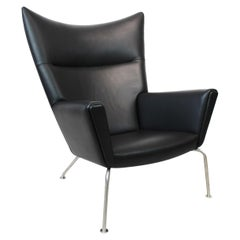Wingchair, Model CH445, in Black Elegance Leather Designed by Hans J. Wegner