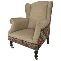 Wingchair Queen Anne Style with Kelim Fabric