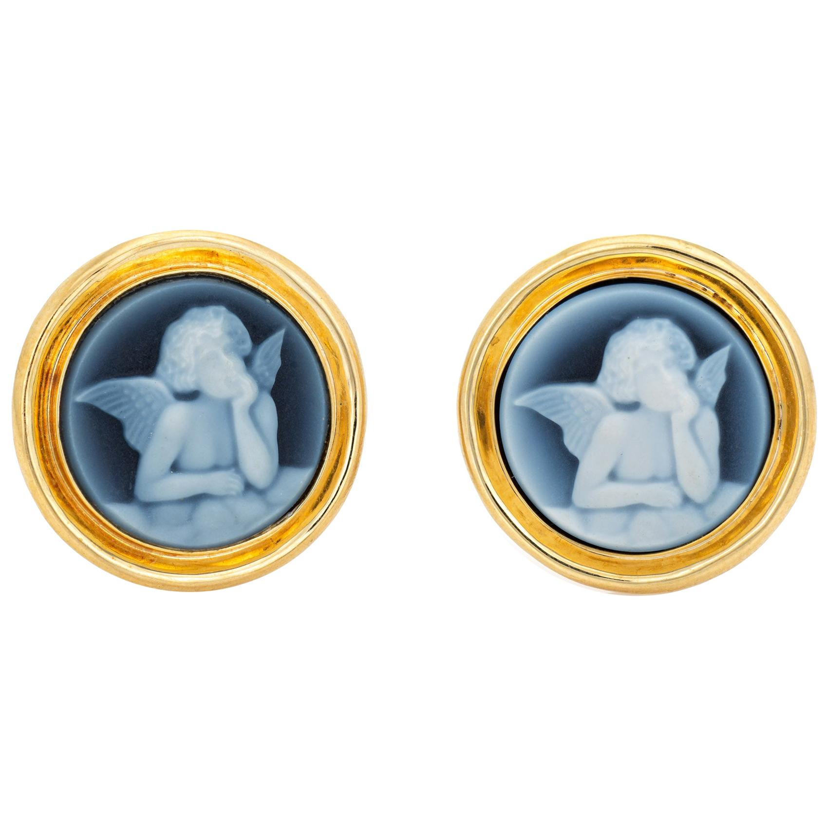 Winged Angel Cameo Button Earrings 14 Karat Yellow Gold Round Vintage Jewelry