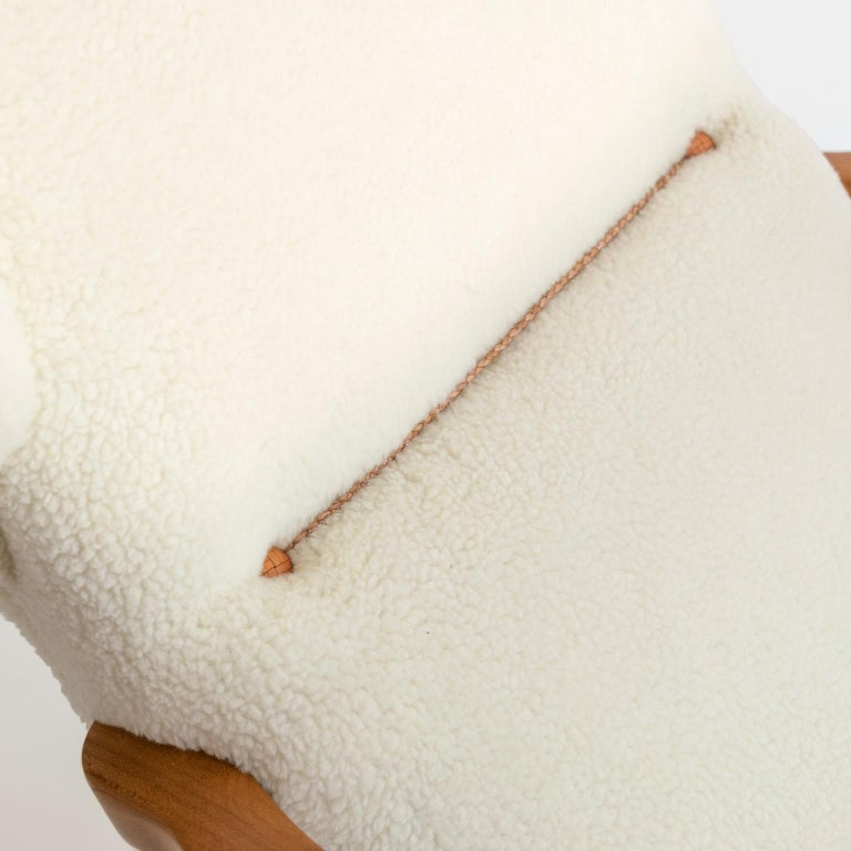 Winged Back Scandinavian Modern Lounge Chair in Faux Sheepskin Fabric 5