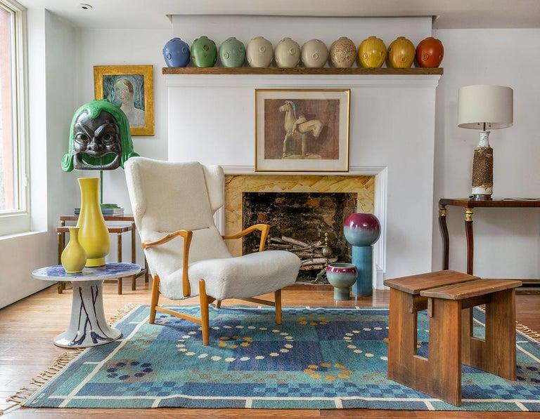 Winged Back Scandinavian Modern Lounge Chair in Faux Sheepskin Fabric 8