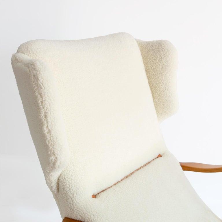 Winged Back Scandinavian Modern Lounge Chair in Faux Sheepskin Fabric 3