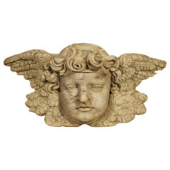 Winged Cherub Carving in Bleached Oak, France, Circa 1700