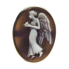 Winged Goddess of the Night Cameo Rose Gold Sterling Silver Ring