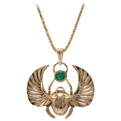 Winged Scarab Beetle Pendant Necklace 14K Gold with 0.50 Carat Natural Emerald