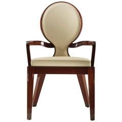 Winged Sun Dining Armchair in Cream Leather.