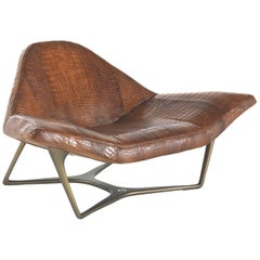 Wings Armchair in Leather with Bronze Finish Metal Base by Roberto Cavalli