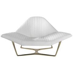Wings Armchair in White Leather with Bronze Finish Metal Base by Roberto Cavalli